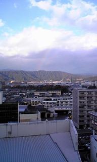 ふと空を見上げたら虹がが出ていました
