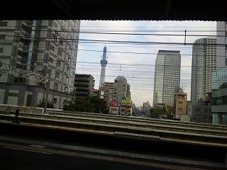 錦糸町駅のホームから見たスカイツリー