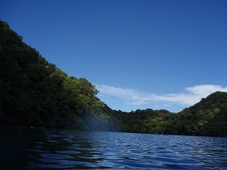ジェリーフィッシュレイクに浮きながら周りの景色を写した写真