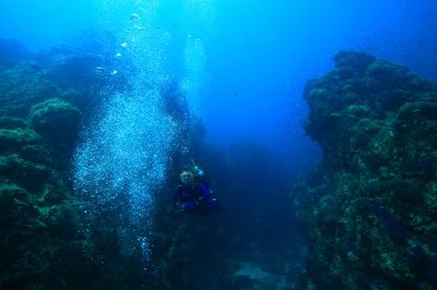 2011年3月タイシュミランクルーズにて、青い海を一人でダイビングしている写真